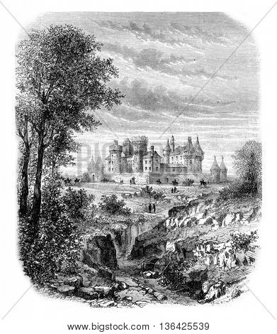 Pompadour National Stud, vintage engraved illustration. Magasin Pittoresque 1861.