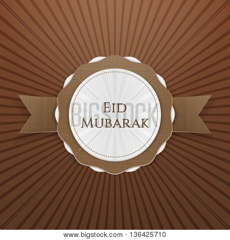 Eid Mubarak realistic greeting Tag. Vector Illustration