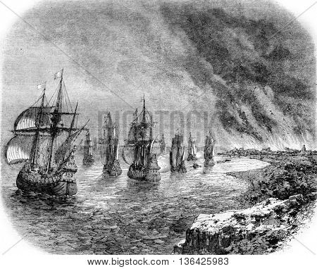 June 1667, The Dutch fleet Sheerness fire in the Thames, vintage engraved illustration. Magasin Pittoresque 1861.