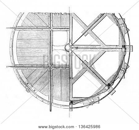 Hub cast iron horizontal plane, vintage engraved illustration. Magasin Pittoresque 1861.