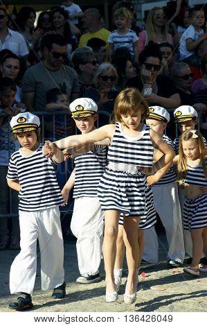 Montenegro, Herceg Novi - 04/06/2016: Young sailors. 10 International Children's Carnival in Herceg Novi