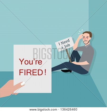 man fired looking for a job vector