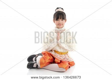 Beautiful Asian girl welcome expression Sawasdeeon white background isolated