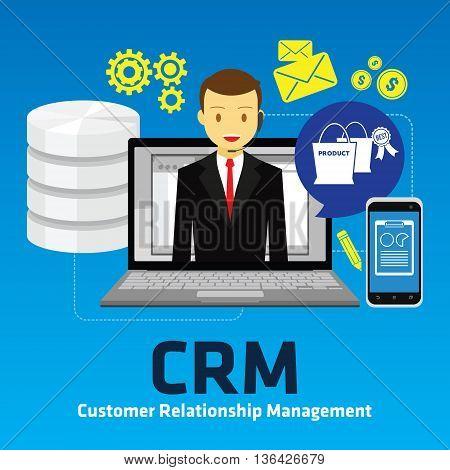 crm customer relationship management vector illustrator design