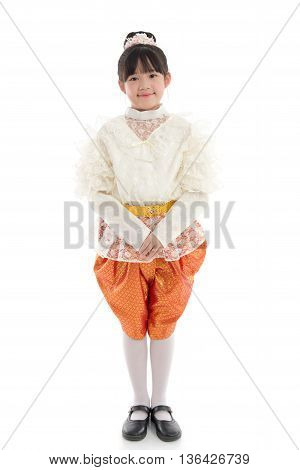 Asian girl in Thai Traditional Dress on white background isolated