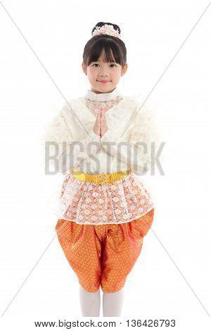 Beautiful Asian girl welcome expression Sawasdee isolate