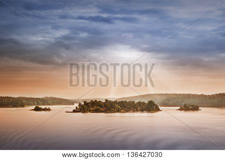 Small islands in the morning near to Stockholm. Swedish landscape