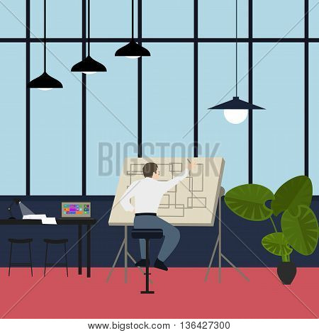 main architect working at drawing desk in office vector