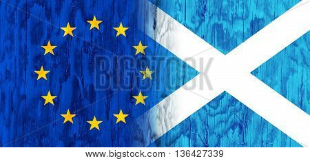 Image relative to politic relationships between European Union and Scotland. National flags textured by wood
