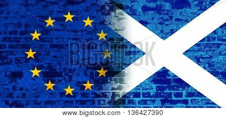 Image relative to politic relationships between European Union and Scotland. National flags textured by brick wall.