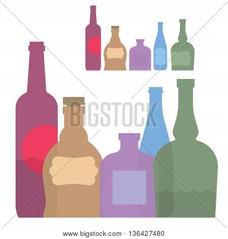 isolated set of colorful bottle with alcohol, flat illustration