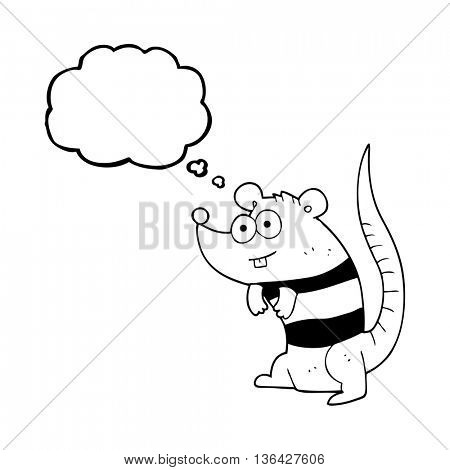 freehand drawn thought bubble cartoon rat