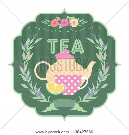 Decorative banner with ornament, ribbon, kettle and a cup of tea