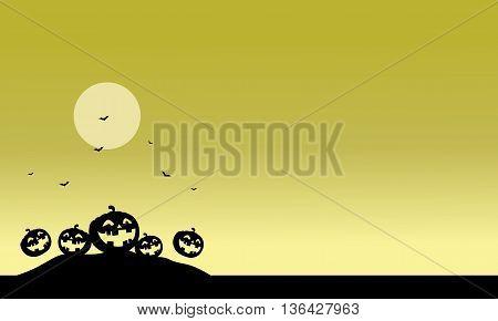 Halloween scenery pumpkins silhouette vector art illustration