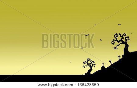 Tomb scenery of silhouette Halloween vector illustration