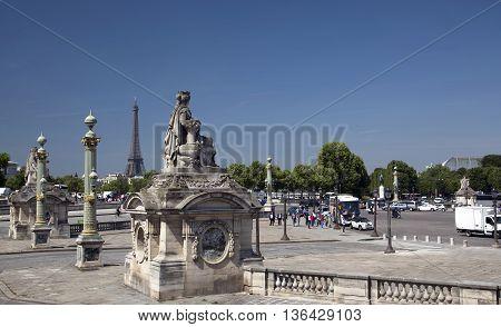 PARIS, FRANCE - JUNE 8, 2013:View of the Place de la Concorde in Paris