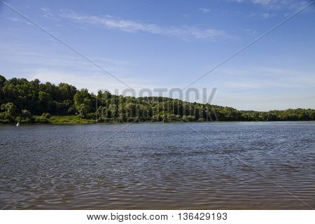 Beautiful landscape with the river in the summer day