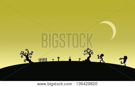 Silhouette of zombie in graveyards Halloween illustration