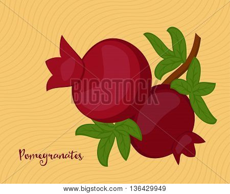 Pomegranate fruits with leaves on yellow background. Raster illustration