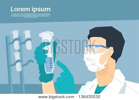 Scientist Working Research Chemical Laboratory Flat Vector Illustration