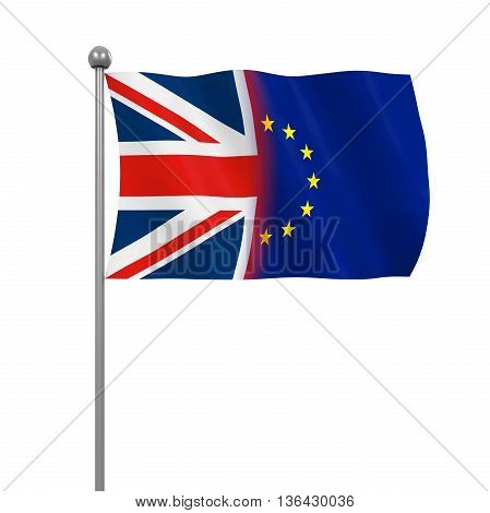 United Kingdom and European Union Flags isolated on white background. 3D render