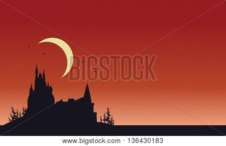 Red backgrounds Halloween castle silhouette vector illustration