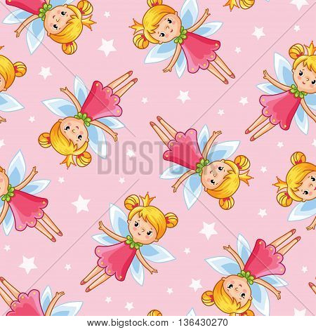 Vector seamless illustration of a young cute little fairy. Fairy on a pink background with stars.