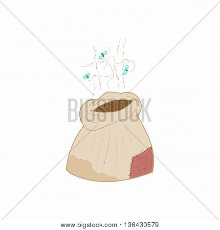 Bag of fertilizers icon in cartoon style on a white background