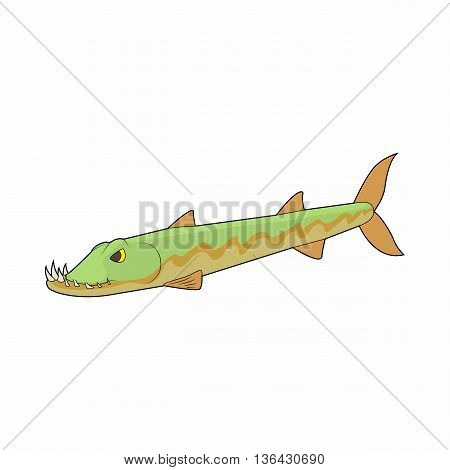 Pike fish icon in cartoon style on a white background