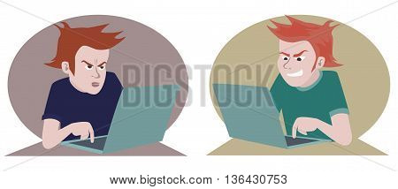 computer and negative emotions funny cartoon illustration of two emotional people looking into laptop