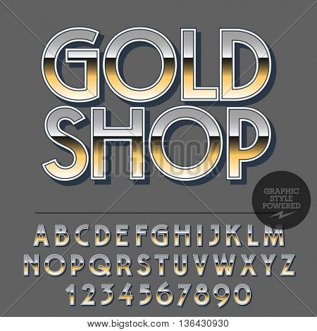Glossy set of alphabet letters, numbers and punctuation symbols. Reflective vector logotype with text Gold Shop