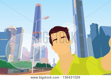 Man Taking Selfie Photo Modern City View Flat Vector Illustration
