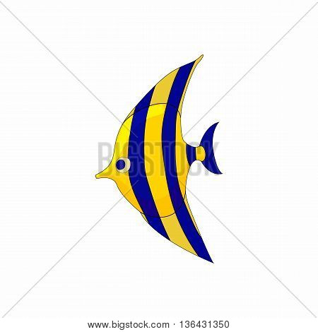 Fish zanclus icon in cartoon style on a white background