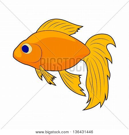 Goldfish icon in cartoon style on a white background