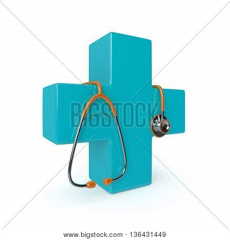 3D Rendered Stethoscope With First Aid Cross