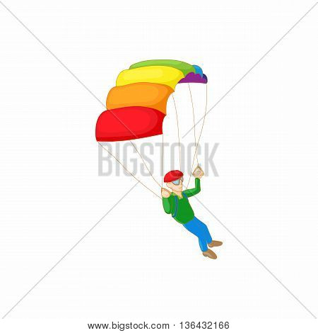 Skydiver with parachute open icon in cartoon style on a white background