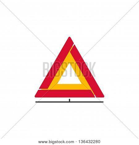 Car emergency sign vector icon, folding emergency safety warning triangle isolated on white background