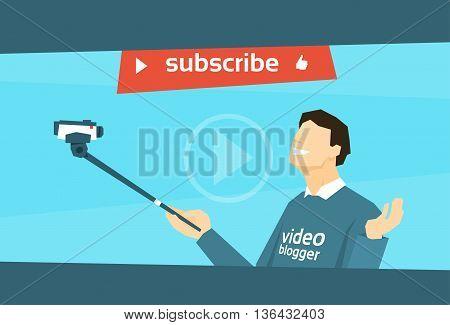 Man Blogger Hold Camera Selfie Stick Shooting Selfie Video Blog Flat Vector Illustration