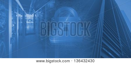 Lock on blue circuit background against view of data technology