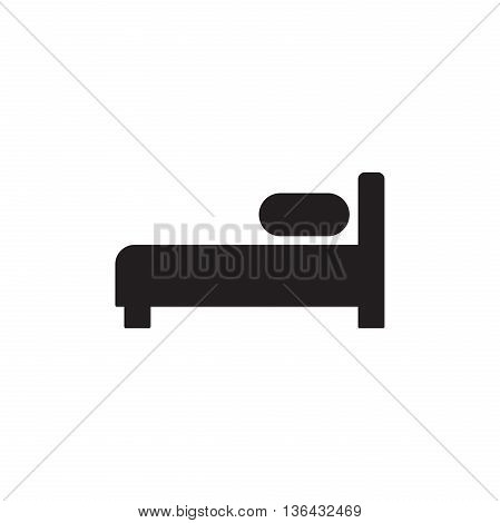 Bed Icon Vector. Hotel, hostel, motel sign isolated on white background. Flat design style