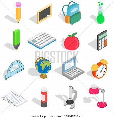 School icons set in isometric 3d style isolated on white background