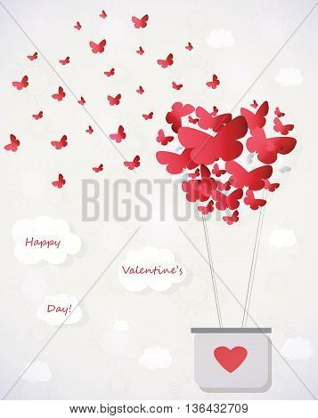 Valentines Day Background With Flying Butterflies And Hot air balloon up into the sky. Vector