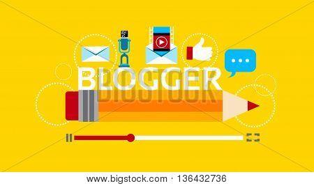 Video Blogger Banner Concept Flat Vector Illustration