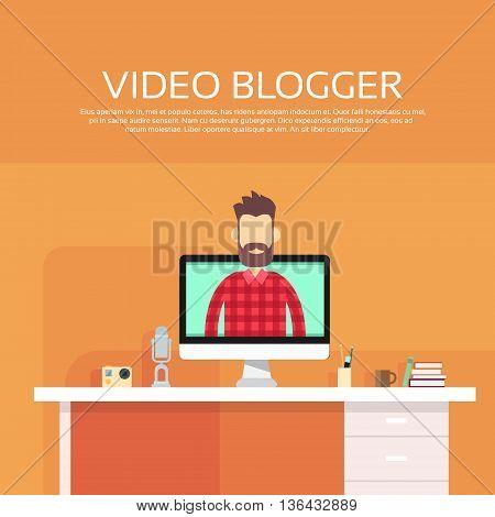 Man Video Blogger Destop Computer Screen Blogging Concept Flat Vector Illustration