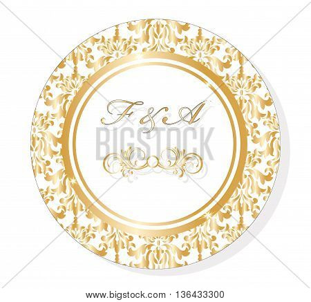 Vector Classic Golden Round Lace damask ornamented Invitation card for wedding ceremonies party certificates. Vector