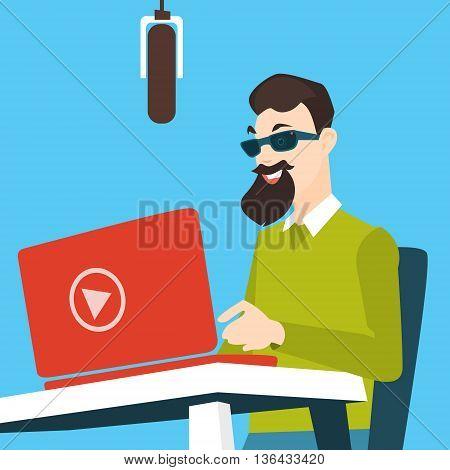 Man Blogger Work Laptop Computer Video Blogging Concept Flat Vector Illustration