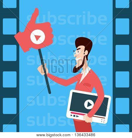Man Blogger Hold Like Tablet Computer Video Blog Concept Flat Vector Illustration