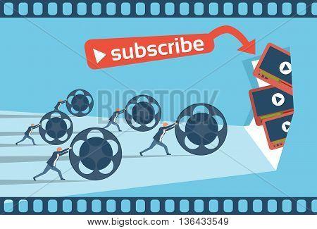 People Blogger Video Blog Concept Flat Vector Illustration