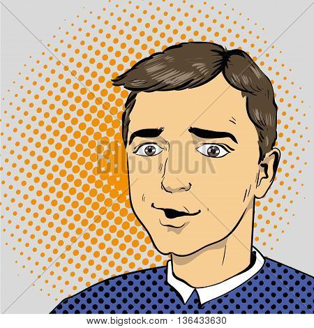 Man in comics retro pop art style. Vector illustration.