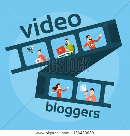 Filmstrip People Blogger, Video Blog Concept Vector Illustration